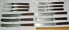Antique Civil War Era J Russell Green River 12 Pc Wood Handle Fork & Knife Set