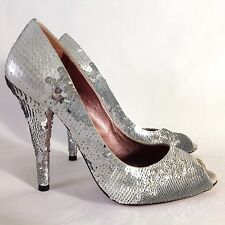 MIU MIU - Silver Sequin Pumps Open Toe Heels Matt & Shiny IT38.5 UK5.5 (fit UK5)