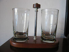 Vintage Wooden Drink / Glass Holder w/ Etched Me & You Libbey Glasses