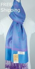 DG Pashmina Scarf Shawl;Silk Cashmere Paisley Purple Turquoise*Soft