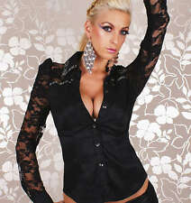 Women's Fitted Lace Shirt Long Sleeve Blouse Partly transparent floral lace top