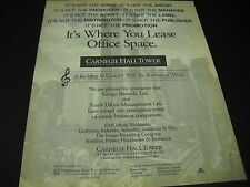 CARNEGIE HALL TOWER 1991 Music Business PROMO DISPLAY AD mint condition