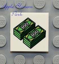 NEW Lego 2x2 White Decorated FLAT TILE -Green Minifig 100 Dollar Bill Bank Money
