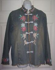 Pamela McCoy Women's Large Designer Denim Jacket Coat Asian Inspired Look SALE