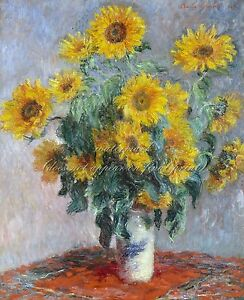 """CLAUDE MONET Painting Poster or Canvas Print """"Bouquet of Sunflowers"""" Up to 32x40"""