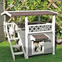 Pet house 2-story outdoor cat house shelter with Escaping Door