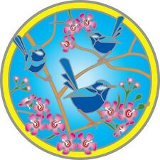 SUNSEAL - BLUE WREN - STAINED GLASS DECAL FOR WINDOWS & GLASS DOOR - 14 CM