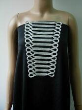 MR163-2 Silver Metallic Trapezoid Loops Corded Braided Applique Fashion/Design