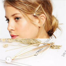 2x Fashion Women Metal Pearl Hair Pin Barrette Clip Side Hairpin Hair Accessory