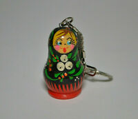 #5 Wooden Hand Painted Russian Doll  Matryoshka Nesting Dolls Keychain Gift