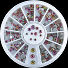 Nail Art Decoration Dazzling Multicolor Clear Crystal Glitter Rhinestones Wheel