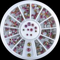 Nail Art Decoration Dazzling Multicolor Clear Crystal Glitter Rhinestones Wheel