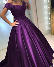 New Prom Dresses Satin and Applique Short Sleeve Bridesmaids Evening Party Gowns