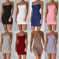 Fashion Bodycon Dress Women Sexy Backless Bandage Slip Mini Dresses Club Party