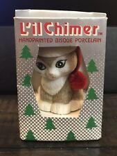 Vtg Jasco Lil' Chimers Cat Kitten Santa Hat Porcelain Christmas Ornament Bell