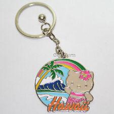 Hello Kitty Hula Girl HAWAII DIAMOND HEAD Metal Charm Key Ring Chain Keychain