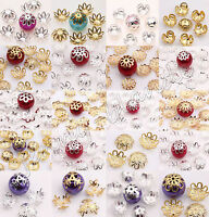 Silver/Gold Plated Metal Flower Spacer Bead Jewelry Finding DIY 8/9/10/14/16mm