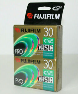 New Fuji Film Pro VHS-C TC-30 Blank Premium High Grade Camcorder Tape 2 Pack