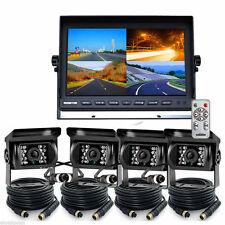 "10.1"" Quad Split screen Monitor + 4x 4PIN CCD Reversing Camera 33Ft fr car Truck"