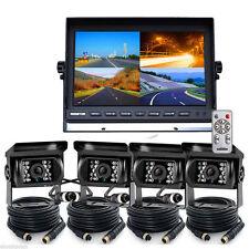 "10.1"" Quad Monitor Split screen + 4x 4PIN 24-LED CCD Reversing Camera 33Ft Truck"