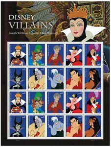 Walt Disney Villains Sheet of 20 Forever Postage Stamps Scott 5222