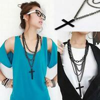 GD Large Gothic Punk Retro Multilayer Black Cross Pendant Long Chain Necklace