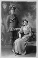 1916  ROYAL FIELD ARTILLERY Soldier & Wife   Studio  Photo Postcard