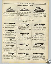 1926 PAPER AD Schrade Push Button Henckels Twin Pocket Knife Straight Razor