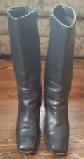 Wonems's BLACK Leather Riding Boots Size 8.5 Side zip Made in Brazil Elastic Top