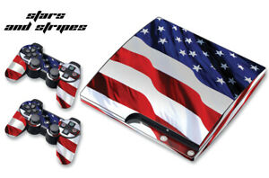 Skin Decal Wrap For PS3 Slim PlayStation 3  Console + Controller Stars n Stripes