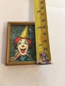 Dollhouse Miniature Artist Made Original Painting Clown Signed A. Serra