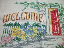 Finished Cross Stitch Welcome Open Front Door Flower Garden