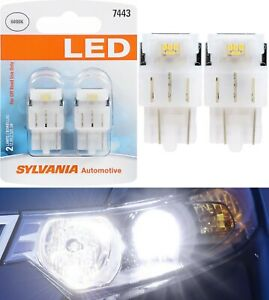 Sylvania Premium LED Light 7443 White 6000K Two Bulbs Brake Stop Tail Park Lamp