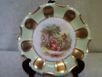 Green Gold Tone Trim Porcelain Plate Hand Painted Germany
