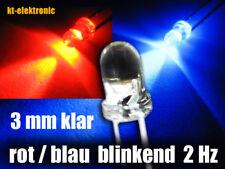 10 Stück Blink-LED 3mm rot und blau blinkend ca. 2 mal pro Sekunde 1.5-2.5 Hz