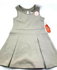 Size 5 Girls Knit Jumper School Uniform Beige Stretch Children stretch dress