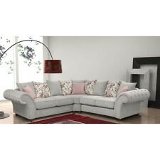 NEW LARGE LUNA ROMA 3+2 SUITE or CORNER SOFA SILVER FABRIC CHESTERFIELD SETTEE