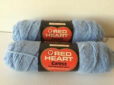2 New Skeins Of Red Heart Caress 4 ply brushed 918 Soft Blue Yarn