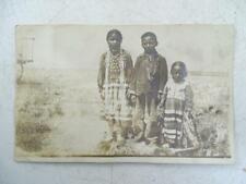 Antique Real Photo Postcard Native American Indian Children Poplar Mt School Vtg