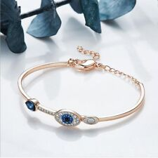Rose Gold Plated Silver Eye of Devil Bangle Bracelet With Blue Sapphire