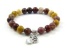 Om Charm Jasper Gemstone Beaded Bracelet Yoga Jewellery Healing Mala Beads
