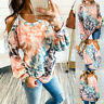Women's Casual Tie Dye Cold Shoulder Long Sleeve Tops T-Shirt Loose Blouse Tee