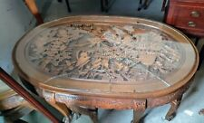 Vintage carved Mahogany Tea Table w/six nesting Stools and glass top Gorgeous