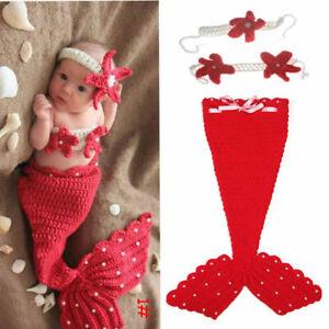 Crochet Newborn Baby Girl Coral Mermaid Tail n Pink Shell Bikini Photo Prop Set