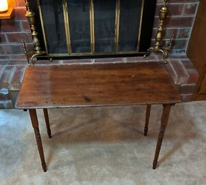 Vintage Antique Wooden Sewing Folding Table With Measurement Strip Engraved