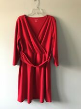 Lands End Red Half Band  Wrap Knit Dress Size Extra-Large 18/20