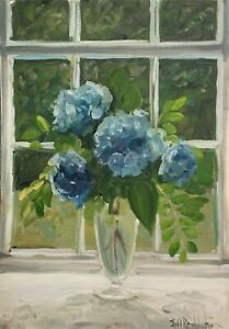 Original oil painting art floral vintage style shabby chic vase blue hydrangeas