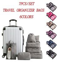 Packing Cubes 7PCS Set for Travel Organizer Luggage Suitcase Waterproof Wash Bag