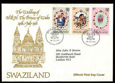 Swaziland 1981 Royal Wedding, Princess Diana FDC #C11438