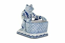 """Cute Blue and White Porcelain Frog with Basket Figurine 7"""""""